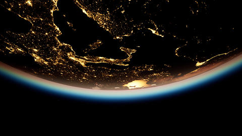 Space, Sun and planet Earth at Night ビデオ