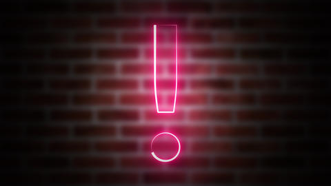 Exclamation mark neon sign on a background of brickwork, computer generated. 3d ビデオ
