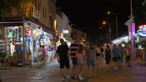 Marmaris, Turkey - September 23, 2019: tourist people walks by shopping street Live Action