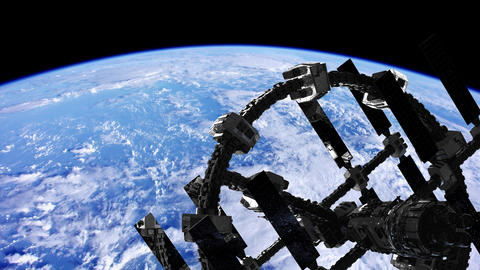 International Space Station in outer space over the planet Earth ビデオ