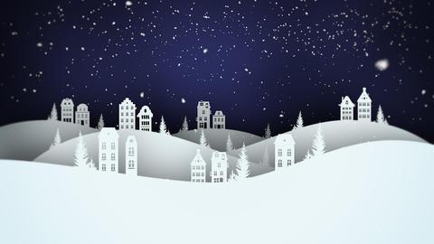 Animated closeup night village and snowing landscape Videos animados