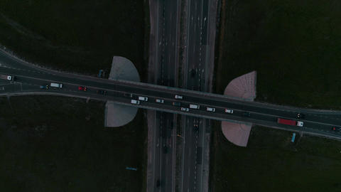 Night Aerial view of highway and overpass in city Live影片
