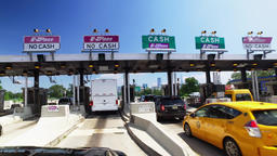 Driving Through New Jersey Turnpike Toll Plaza Headed to Manhattan Footage