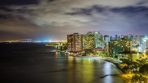 Time Lapse - Night Skyline of Waikiki Beach , Honolulu, Oahu, Hawaii Footage