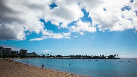 Time Lapse -Clouds over the Beach of Honolulu, Hawaii Footage