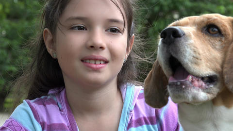 Little Girl Posing with Dog Live Action