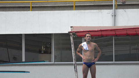 Pro Diver at Diving Board Live Action