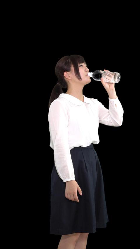 水を飲む女性1 Footage
