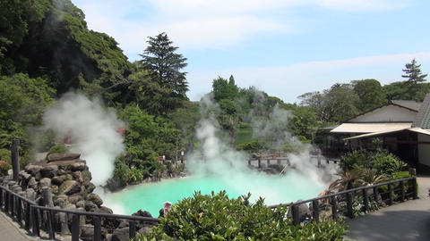 Hot spring in Beppu Oita, Japan (Geothermal Spa Umi jigoku) Footage