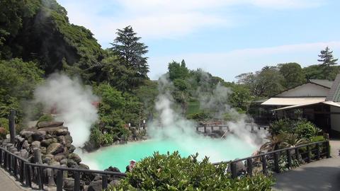 Hot spring in Beppu Oita, Japan (Geothermal Spa Umi jigoku) Footage