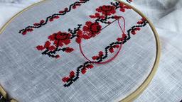 Embroidery cross stitch pattern Footage