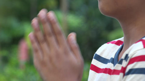 Christian Boy Praying With Hands Footage