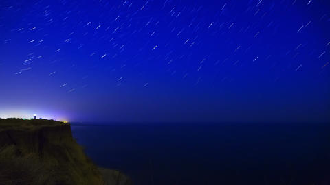 Stars over the Sea. Time Lapse Footage