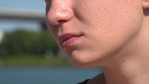 Closeup of Woman's Mouth and Lips Footage