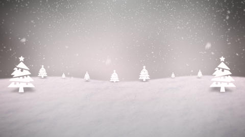 Animated closeup mountains, forest and snowing landscape Animation