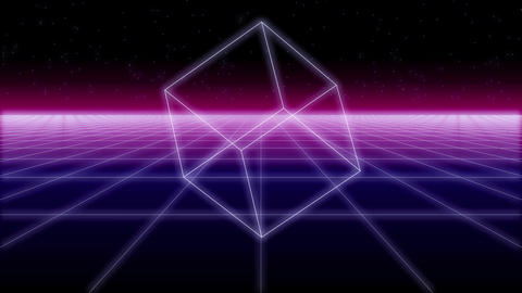 synthwave shapes on a Retro Background 3d render Footage