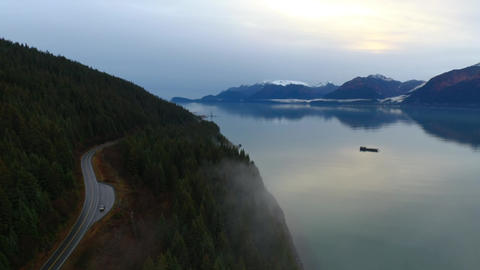 Barge on a calm bay Footage