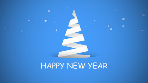 Animated closeup Happy New Year text, white Christmas tree on blue background Animation