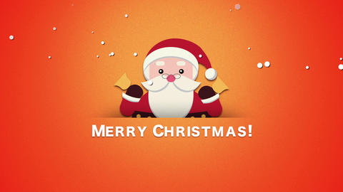 Animated close up Merry Christmas text, Santa Claus with bells Animation
