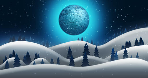 Christmas Night and the Snow Fields of North Pole With Full Moon Background Animation