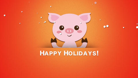 Animated close up Happy Holidays text and funny pig Animation