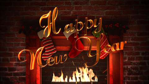 Animated closeup fireplace, gifts in the Christmas socks and Happy New Year text on bricks Animation