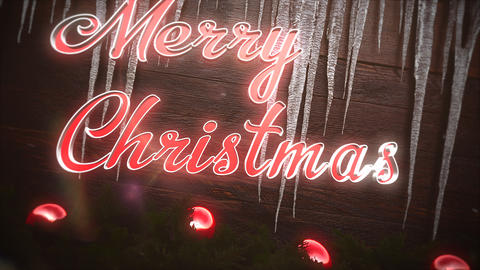Animated closeup Merry Christmas text, red balls and icicles on wood background Animation