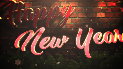 Animated closeup Happy New Year text, white snowflakes and wood background Animation