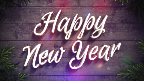 Animated closeup Happy New Year text, colorful garland and green Christmas branch on wood background Animation