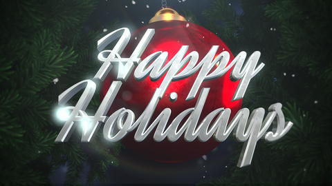 Animated closeup Happy Holidays text and white snowflakes, red balls on dark background Animation