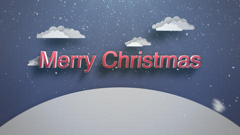 Animated closeup Merry Christmas text, mountains and snowing landscape Animation