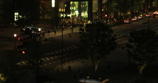 A night cityscape of walking crowd at the business town in Tokyo tilt shift high ビデオ