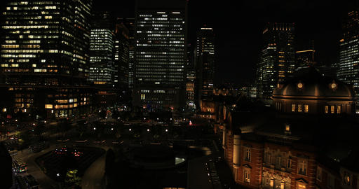 A night cityscape at the business town in Tokyo high angle wide shot Footage