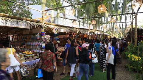 Many people walking into a Thai red cross fair at Lumpini park in downtown of Bangkok,Thailand ビデオ