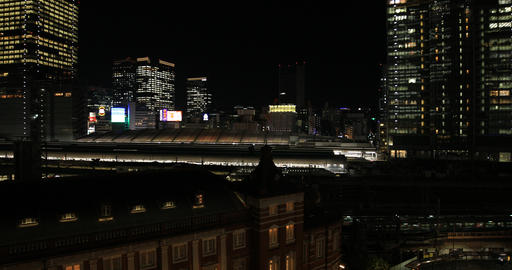 A night cityscape at the business town in Tokyo high angle wide shot GIF