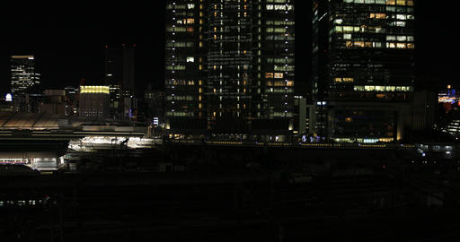 A night cityscape at the business town in Tokyo high angle wide shot ビデオ