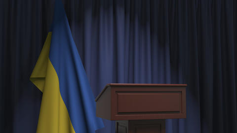 Flag of Ukraine and speaker podium tribune. Political event or statement related Live Action