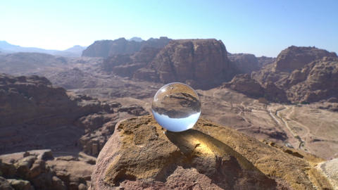 Abstract mountains landscape background with crystal ball, wonderful nature view Live Action