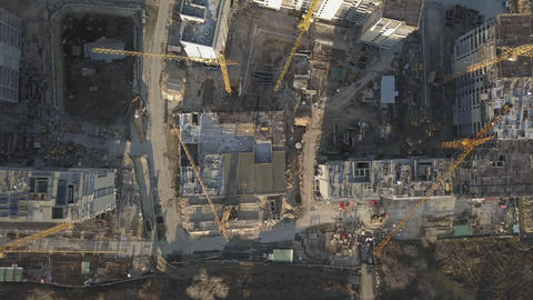 Construction site of a new residential complex. Flying over the construction ビデオ