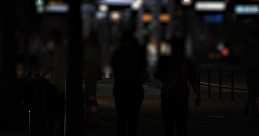A night cityscape of walking people at the business town in Tokyo long shot GIF