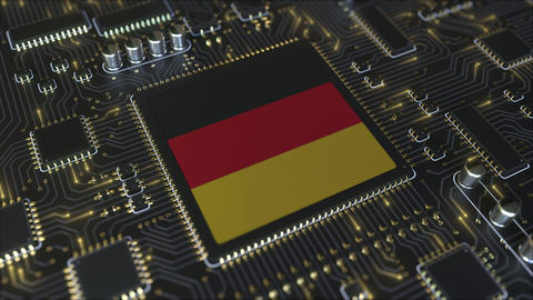 Flag of Germany on the operating chipset. German information technology or Live Action