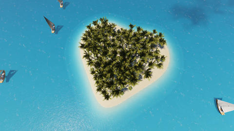 Tropical island heart. Tropical relax. Heart shape. Summer holiday. Clouds float Live Action