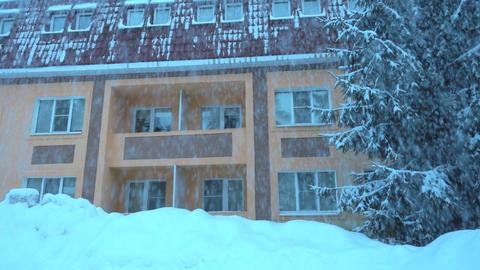 Heavy snowfall covered modern house ビデオ