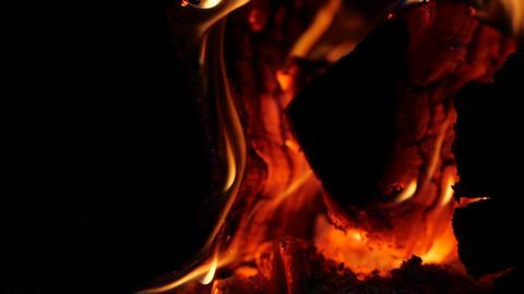 Slow motion of Warm cozy burning Fireplace. Beautiful Hot Rising Sparks. Burning Archivo