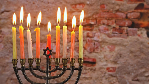 Jewish holiday hannukah symbols - menorah Live Action