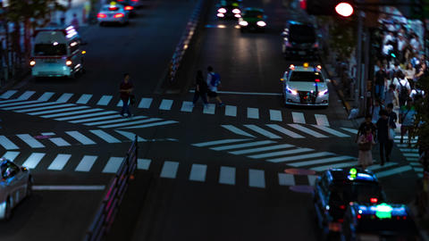 A night timelapse of the neon street in Shinjuku Tokyo high angle tiltshift Footage
