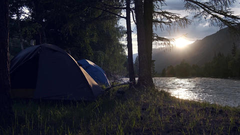 Two tents in a morning forest Archivo