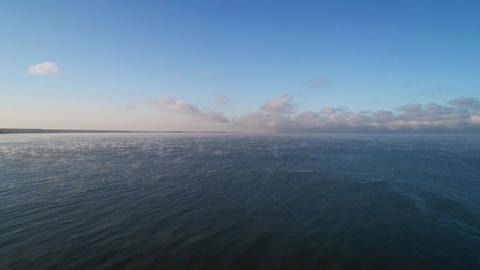 Fog above ripple water surface Archivo