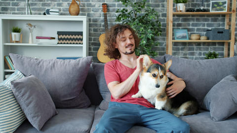 Cheerful guy stroking corgi puppy on couch at home enjoying leisure time Archivo