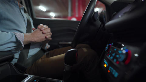 Man driving in innovative automated car using... Stock Video Footage